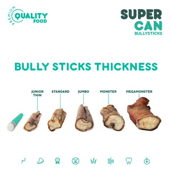 SuperCan Bully Sticks Size Chart